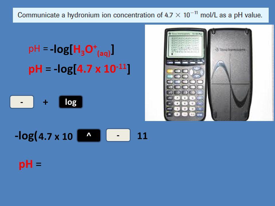 -log[H3O+(aq)] pH = -log[4.7 x 10-11] -log( pH = pH = + 4.7 x 10 11 -